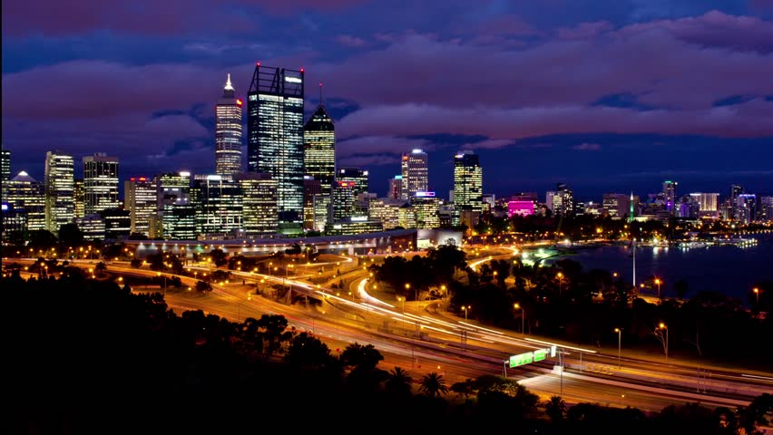 timelapse of perth city australia as seen from king 39 s park from late dusk to night time. Black Bedroom Furniture Sets. Home Design Ideas