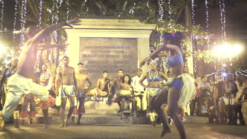 CARTAGENA, COLOMBIA - CIRCA DECEMBER 2015: Folkloric afroamerican  dance in public place by night in Cartagena. Slow motion - HD stock footage clip