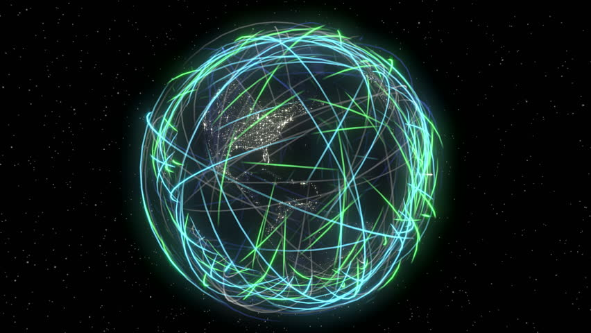 Internet Global Data Cyberspace Web Communication.  Eye-catching light streaks circumnavigating earth that can represent: internet traffic, satellite orbits, data sharing, company reach, ect. - 4K stock footage clip