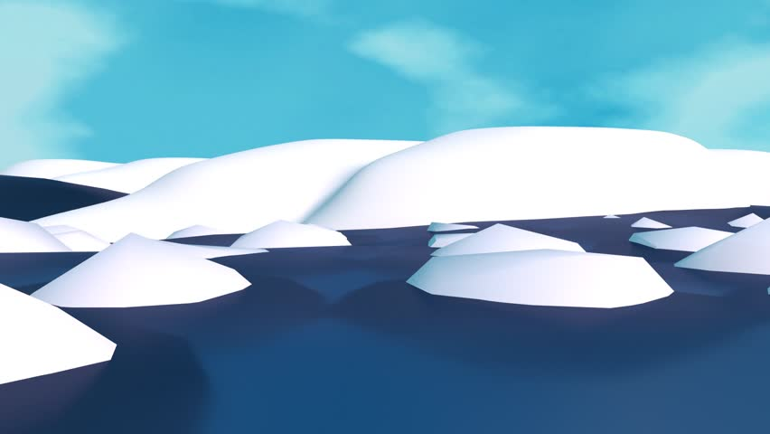 3D Arctic Or Antarctica Iceberg Cartoon Animation. Camera