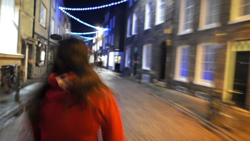 Fast Forward Girl Walking through Festive City | Shutterstock HD Video #14167301