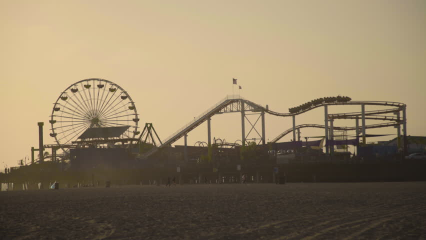 Ferris wheel, Pier Santa Monica, Los Angeles, California, US - 4K stock video clip