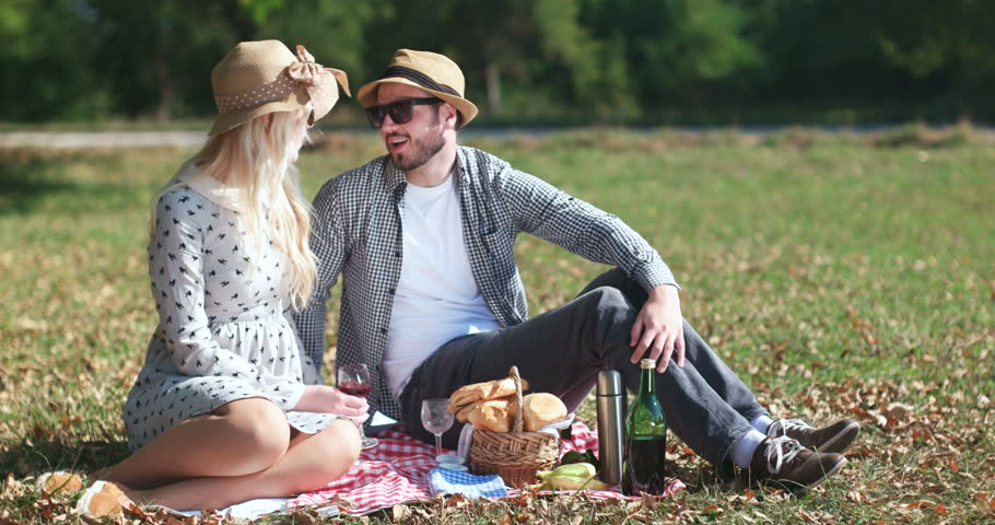 Happy vegetarian couple enjoying picnic in the nature with wine and food - 4K stock video clip