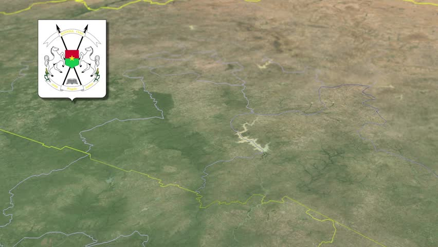 Centre-Est Region with Coat of arms animation map Regions of Burkina Faso