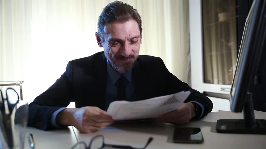 boss overwhelmed by too much paperwork in the stress and sad - HD stock footage clip
