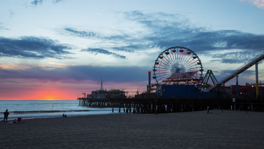Santa Monica Colorful Sunset  - 4K stock footage clip