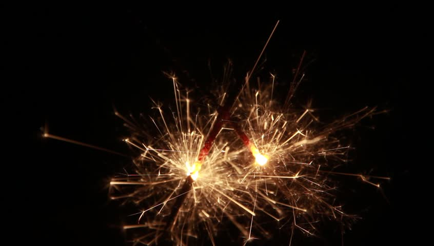 Little firework flower with the dark background at night of holiday season. - HD stock footage clip