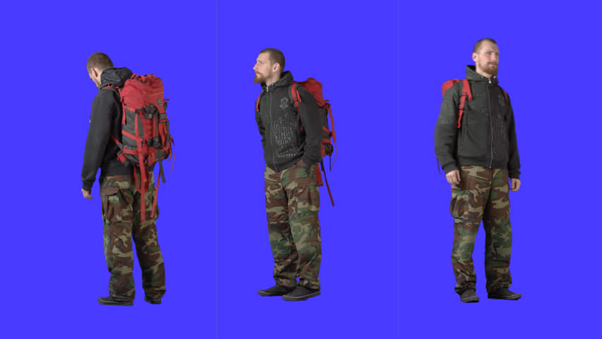 Bearded tourist with big red backpack. Clip with alpha channel. File format - mov. Codec - PNG+Alpha. High quality keying without holes and chatter. Three clips in one