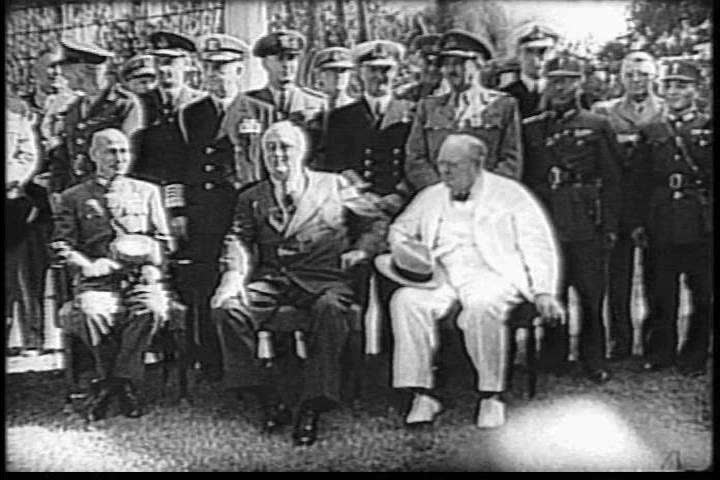 CIRCA 1940s - Roosevelt, Churchill, and Chiang Kai-shek meet at the Cairo Conference in the 1940s.