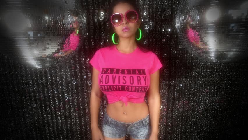 sexy woman dancing in pink tshirt