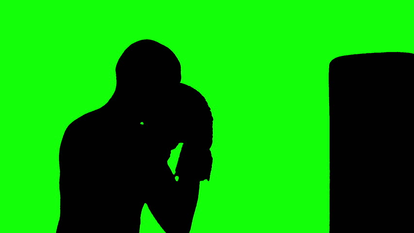 HD rotoscoped silhouette of a bald male boxer working out on a punching bag against a green-screen chroma-key ready background