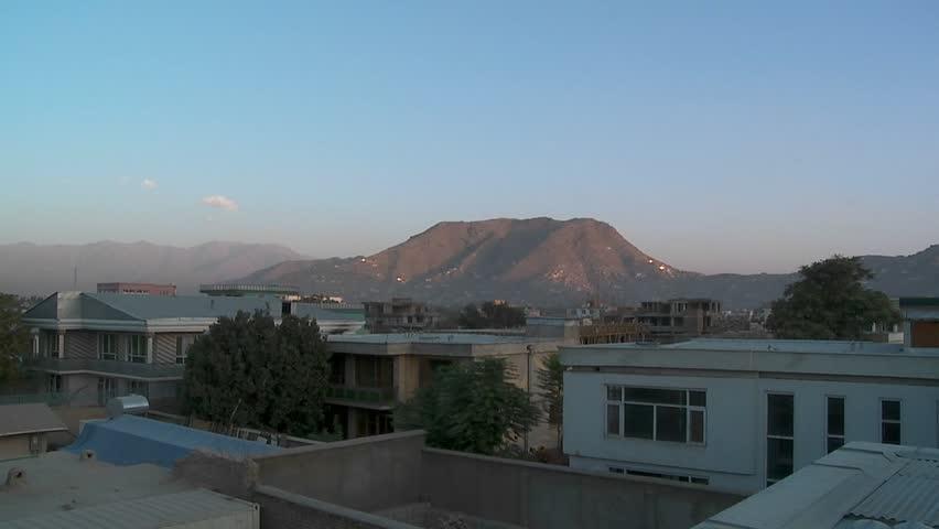 Slow pan of residential neighborhood in Kabul, Afghanistan. - SD stock video clip