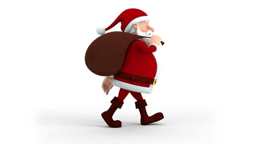 Cartoon Santa Claus with gift bag walking on the spot - right side  view - high quality 3d animation