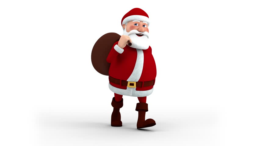 Cartoon Santa Claus with gift bag walking on the spot - semi front view - high quality 3d animation