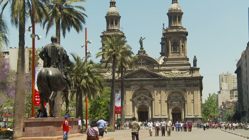 Santiago Chile, church and plaza