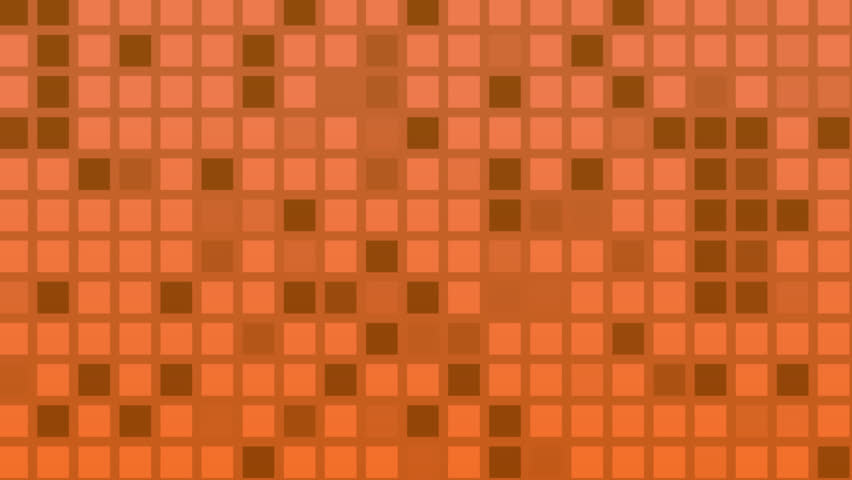 Looping animation of orange and red colored tiles changing color and pattern. - HD stock footage clip