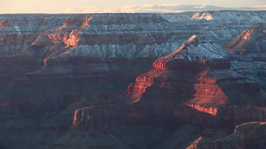 Wide shot of the South Rim of the Grand Canyon in winter.