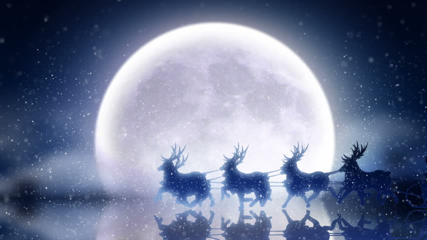 Santa with reindeer flies over moon  **** More CHRISTMAS footage in my portfolio