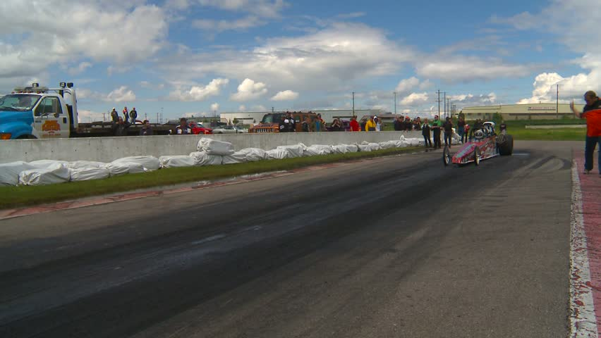 Motor sports, Drag racing,  2-seater dragster burnout - HD stock footage clip