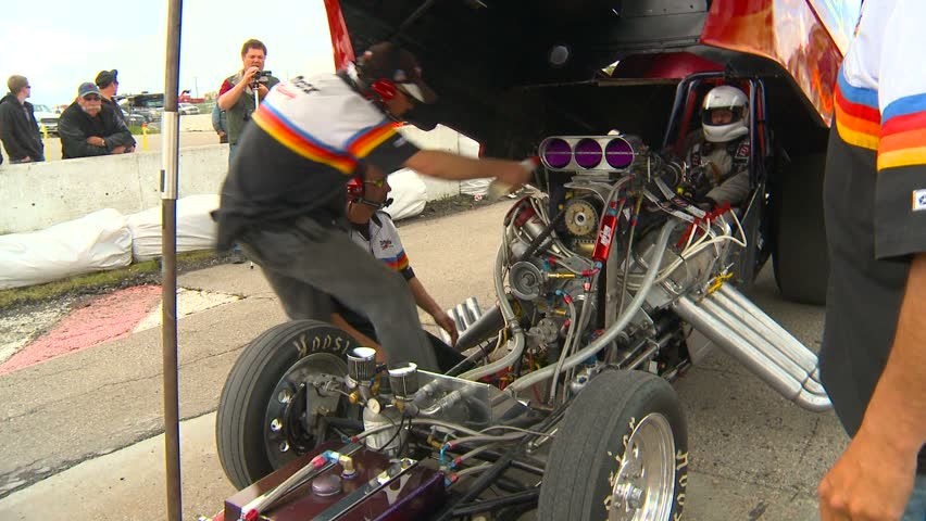 Motor sports, Drag Race, Funny car start up - HD stock footage clip