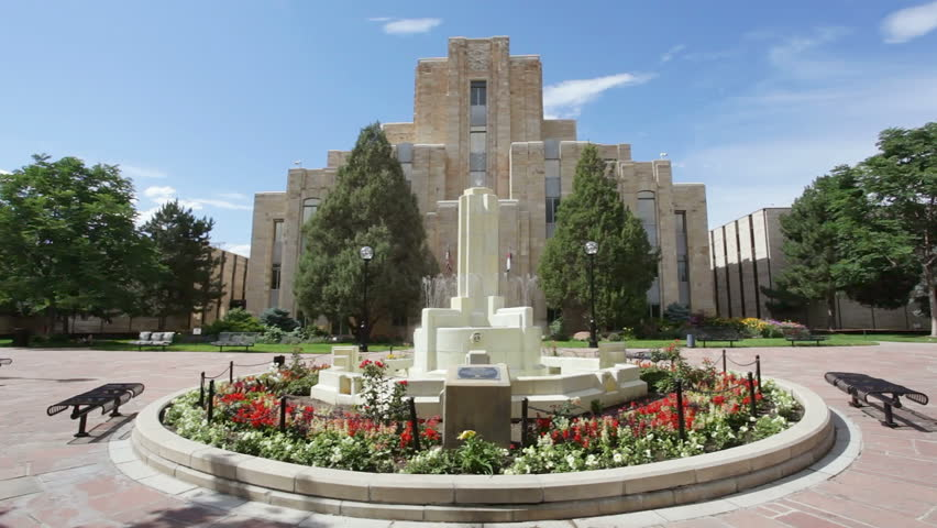 Courthouse and fountain, Boulder, Colorado, United States - HD stock footage clip