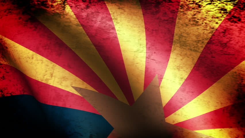 Arizona State Flag Waving, grunge look