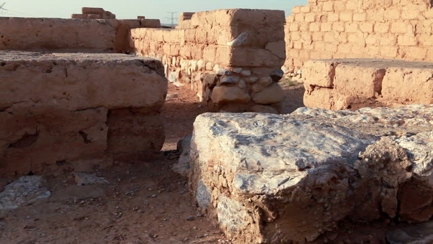 the ruins of the biblical city at Tel Be'er Sheva National Park in Israel. - HD stock footage clip
