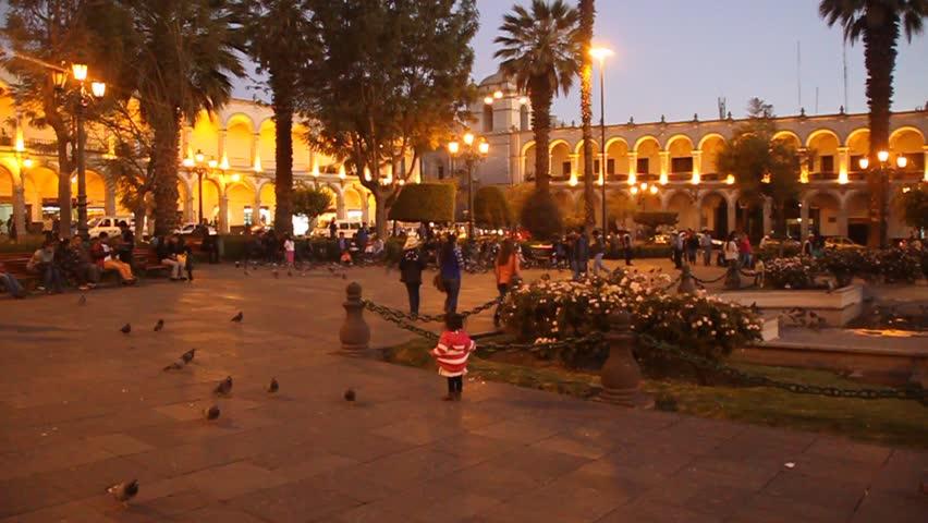 AREQUIPA, PERU - MAY 29, 2015: People at Plaza de Armas square in Arequipa, Peru.