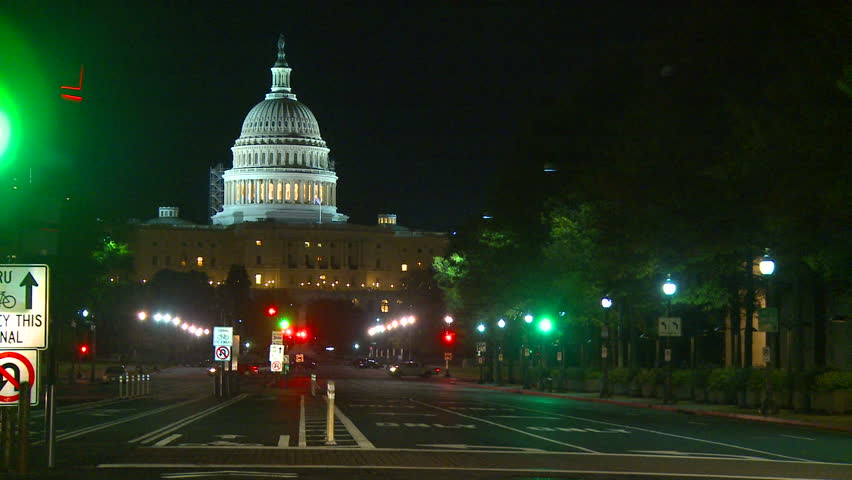 WASHINGTON, D.C. - CIRCA 2010: The United States Capitol Building at night in Washington, DC - HD stock footage clip