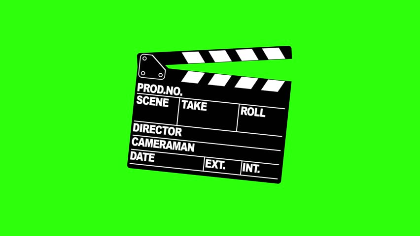 A motion picture clapboard, also called a slate on green screen