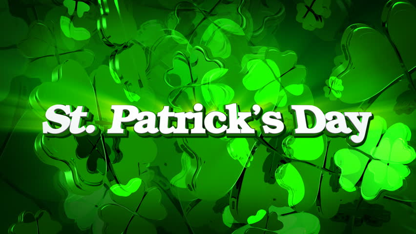 St. Patrick's Day - Green Four Leaf Clover Title - HD stock footage clip