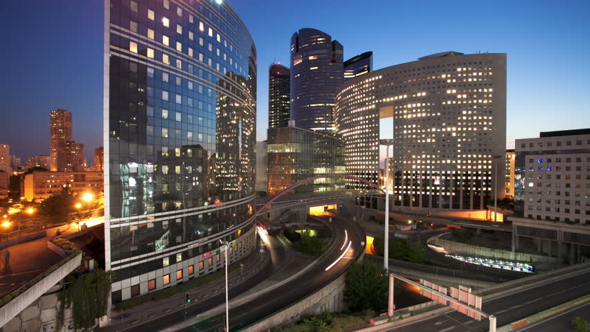 Dusk to night timelapse of La Defense