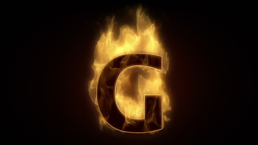 Fiery letter G  burning in loop with particles - HD stock video clip
