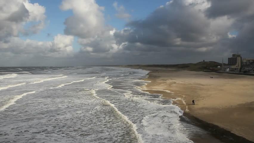 View along the Dutch coast near Scheveningen, Holland - HD stock footage clip