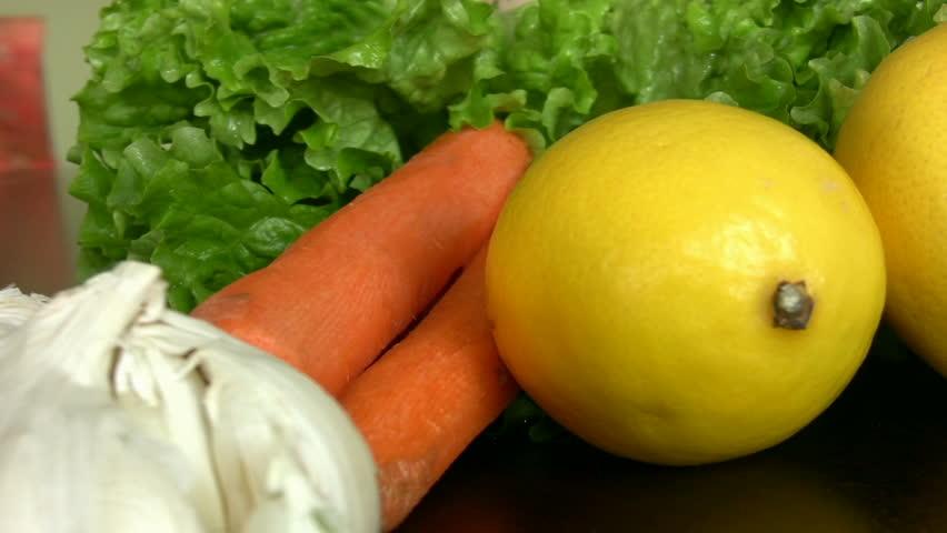 Fresh organic vegetables - HD stock video clip
