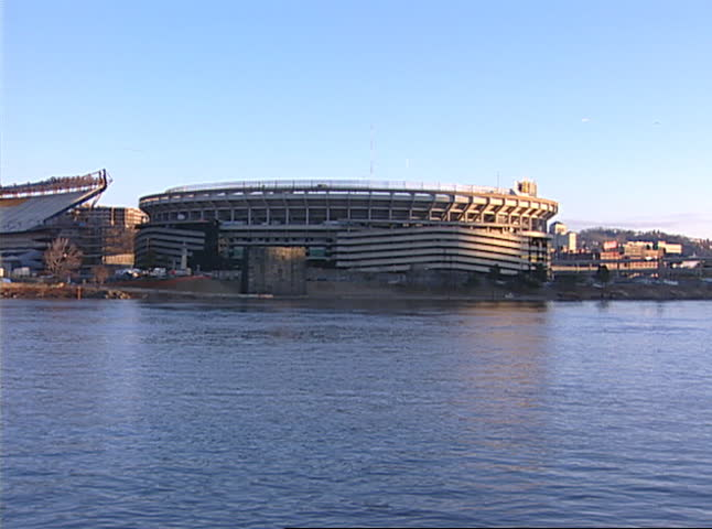 PITTSBURGH -  February 11, 2001 - Three Rivers Stadium on Pittsburgh's North Shore is imploded to make room for two new sports stadiums.