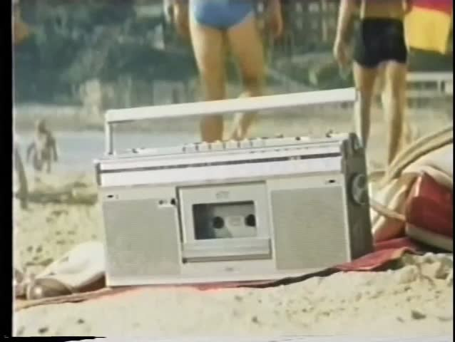 Close-up  boom box on the beach - SD stock footage clip