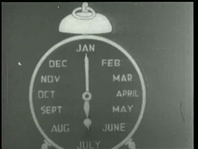 Close-up of cartoon alarm clock labeled January through December
