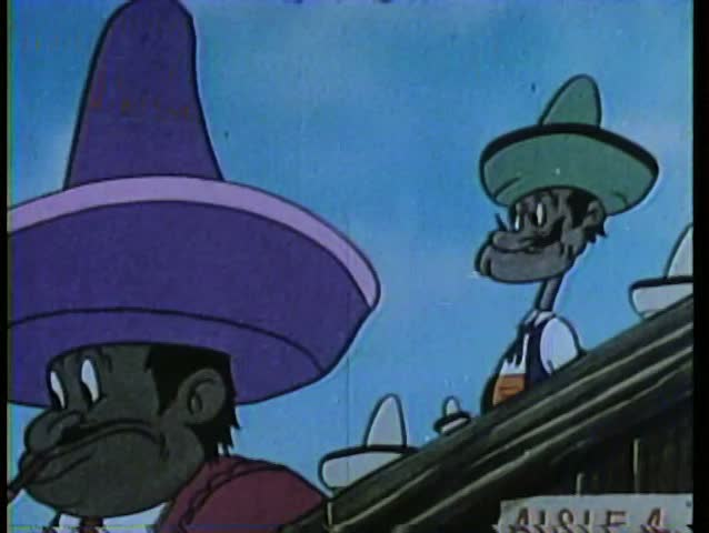 Cartoon of a man wearing a large sombrero blocking another man's view getting his comeuppance - SD stock video clip