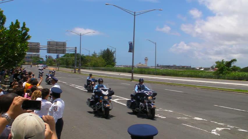 SAN JUAN, PUERTO RICO - JUNE 14: President Barack Obama presidential motorcade leaving Puerto Rico International Airport on June 14, 2011. - HD stock video clip