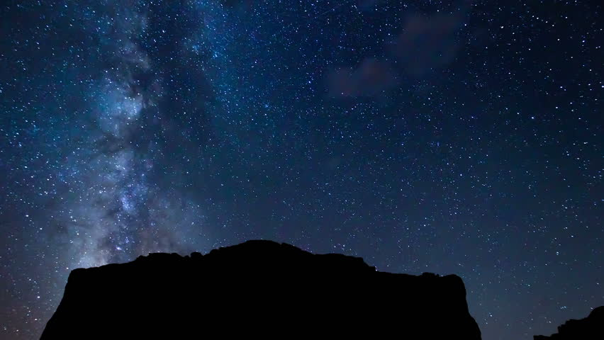 Time Lapse of Night Sky and Milky Way Galaxy - HD stock video clip