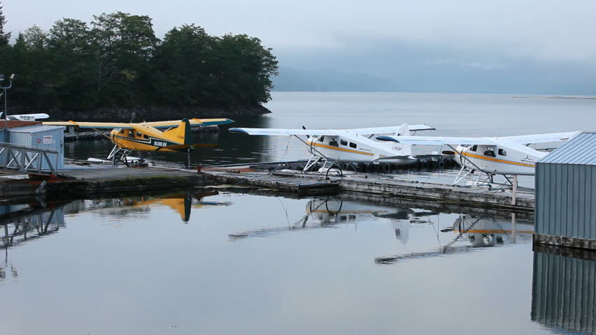 PRINCE RUPERT, BC  CIRCA AUG 2010: Float planes is main source of transportation along coast of Canada and Alaska in Prince Rupert. Marina marina and seaplane docks. - HD stock video clip