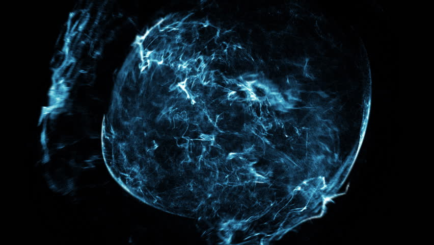 Blue electronic shell of energy in a dark background - HD stock footage clip