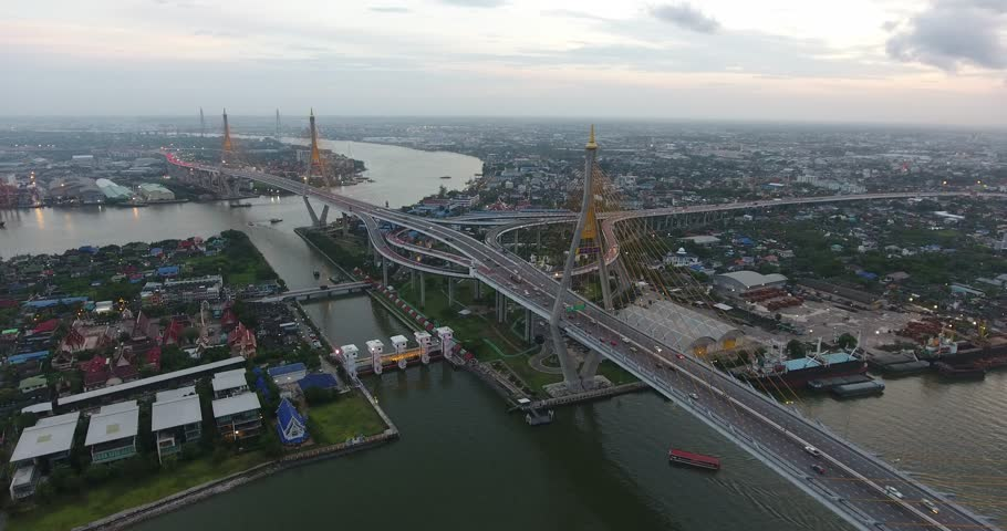 Road roundabout with car lots in Thailand.Bhumibol Bridge in Thailand. | Shutterstock HD Video #18924629