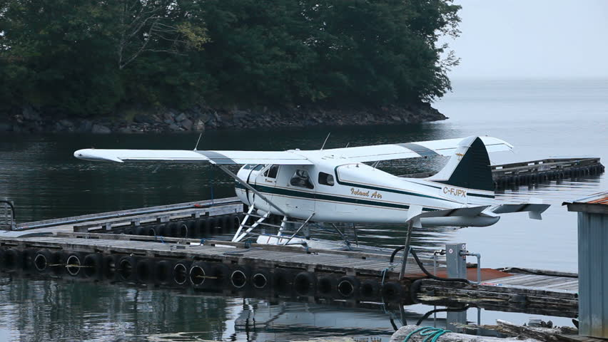 PRINCE RUPERT, BC, CANADA - AUG 10: Float plane in marina dock on August 10, 2011 in Prince Rupert, Canada. Main and only mode of transportation in much of Canada and Alaska. - HD stock footage clip