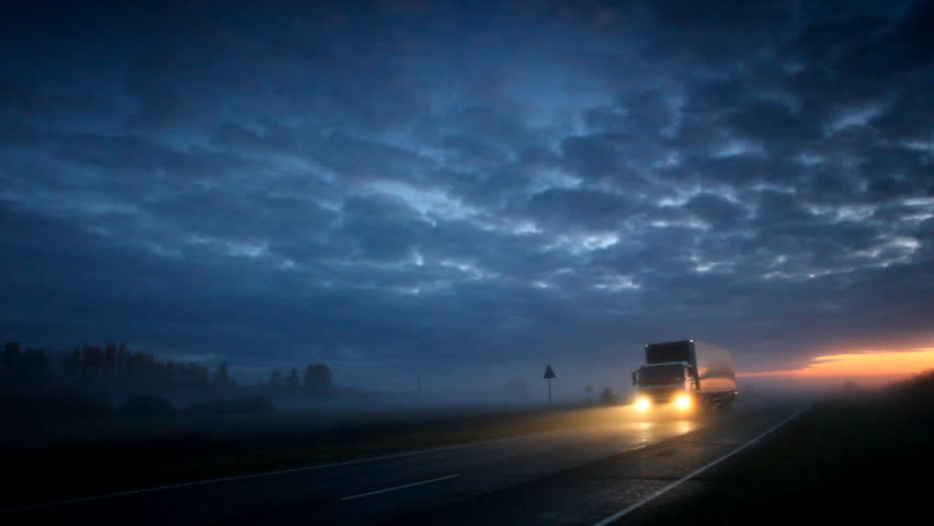 Trucker goes on night road