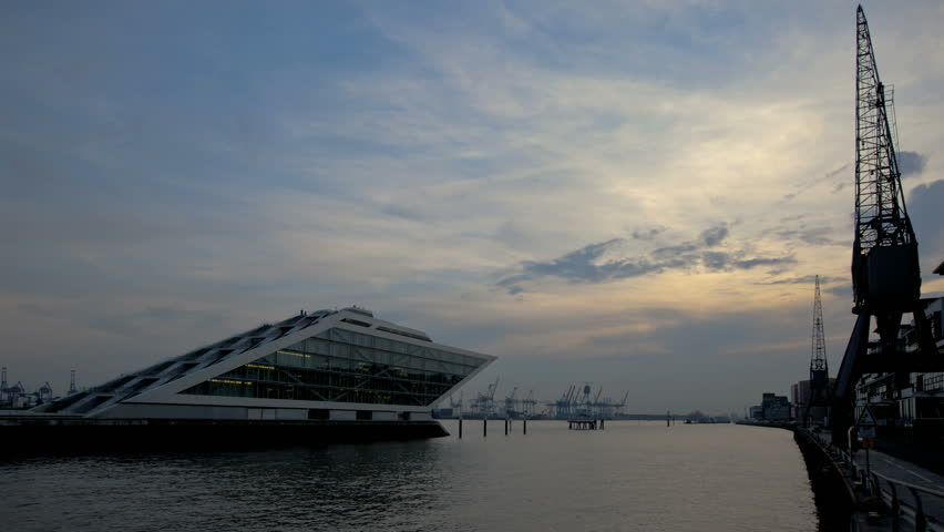 HAMBURG, GERMANY - SEPT 24: Timelapse of the Dockland house at sunset on September 24, 2010 in Hamburg, GERMANY  - HD stock video clip