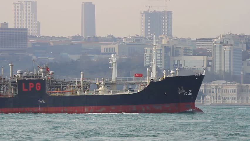 Tanker ship sails in front of Istanbul city. Zoom in of Liquefied Petroleum Gas,