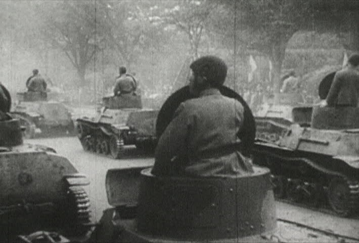 ASIA - CIRCA 1942-1944: World War II, Japanese Soldiers Tanks on the Field - SD stock video clip
