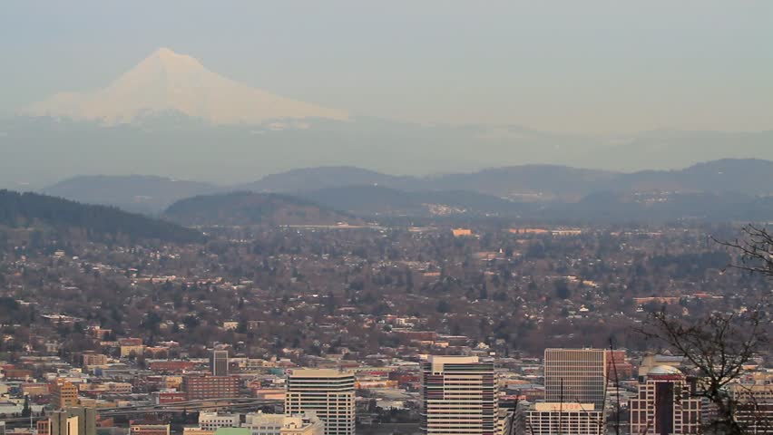 Panoramic View of Portland Oregon Downtown Skyline and Cityscape with Mount Hood 1080p Panning - HD stock video clip